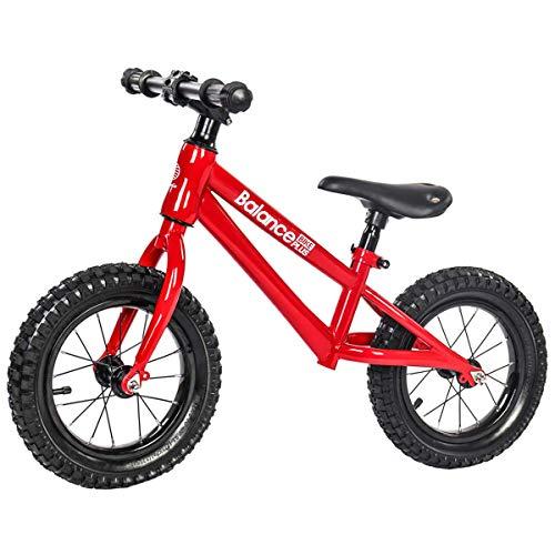 CHUTD Bicicleta de Equilibrio para niños - Bicicleta de Equilibrio de Entrenamiento para niños y niñas de 2 a 6 años, Incluye Ruedas inflables de 12 Pulgadas, Rojo