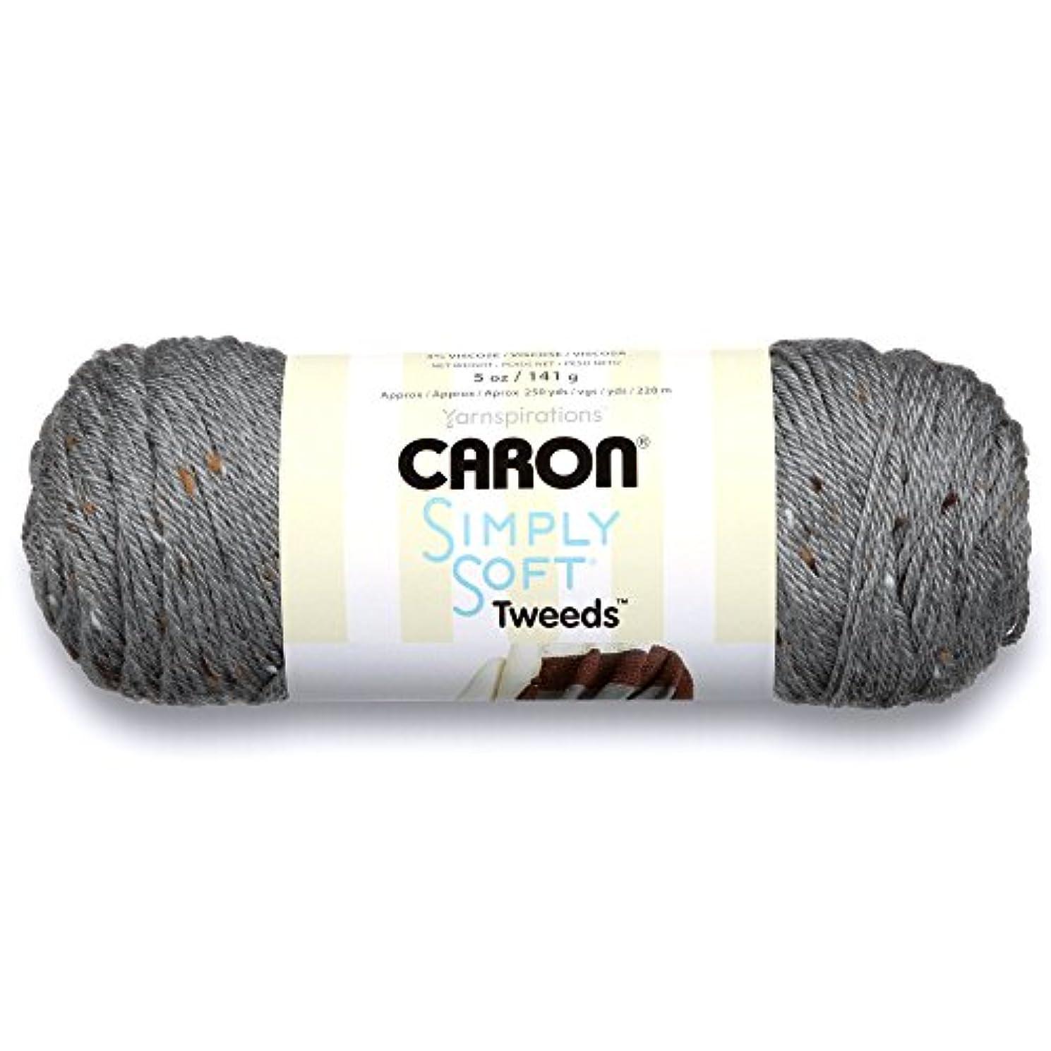 Caron Simply Soft Tweeds Yarn (4) Medium Gauge 100% Acrylic - 5oz - Gray -  Machine Wash & Dry