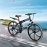 26 inch Adults Folding Mountain Bike for Men & Women High-Carbon Steel Mountain Bike Outdoor Exercise Road Bikes with 21 Speed Dual Disc Brakes Full Suspension Non-Slip (Balck1)