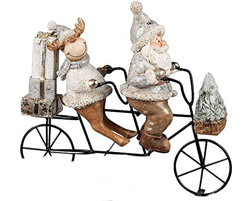 dekojohnson Statuetta decorativa a forma di Babbo Natale e renna su bicicletta Tandem, decorazione invernale natalizia, Babbo Natale e alce argento dorato, 30 x 10 x 26 cm