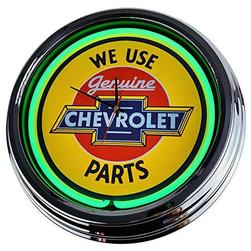 Neon Uhr Chevy Parts Wanduhr Deko-Uhr Leuchtuhr USA 50's Style Retro Neonuhr Esszimmer Küche Wohnzimmer Büro (Grün)