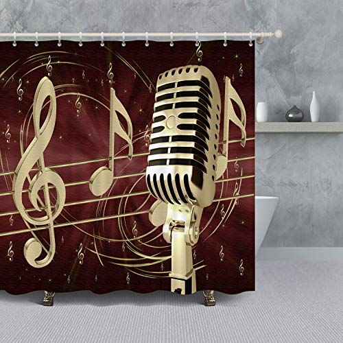"""VANCAR Musical Background Music Notes and Golden Microphone Shower Curtain for Bathroom Waterproof Polyester Fabric Bath Curtain Sets with Hooks 66"""" X 72"""""""