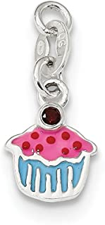 Amore La Vita Sterling Silver and 14k Yellow Gold Simulated Garnet Antiqued Lobster Clasp Charm