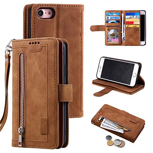 UEEBAI Hülle für iPhone SE 2020 iPhone 7 iPhone 8, Vintage Reißverschluss Handyhülle PU Leder Handytasche Silikon Bumper mit 9 Kartenfächer Geldbörse Trageband Schutzhülle Flip Wallet Hülle - Braun