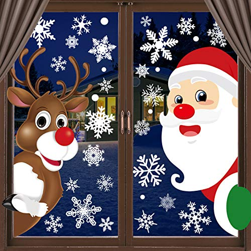 OCATO 310 Pcs Christmas Window Clings Static Snowflakes Window Clings Santa Claus Reindeer Decals Stickers Christmas Window Decorations Indoor Winter Wonderland Decorations Ornaments Party Supplies