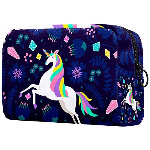 Bolsa de viaje para cosméticos portátil, partición ajustable, utilizada para brochas de maquillaje, color azul, fucsia, blanco y negro
