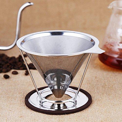 zetong Filtro permanente per caffè in acciaio inox Filtro permanente filtro durata caffè filtro riutilizzabili per 4tazze