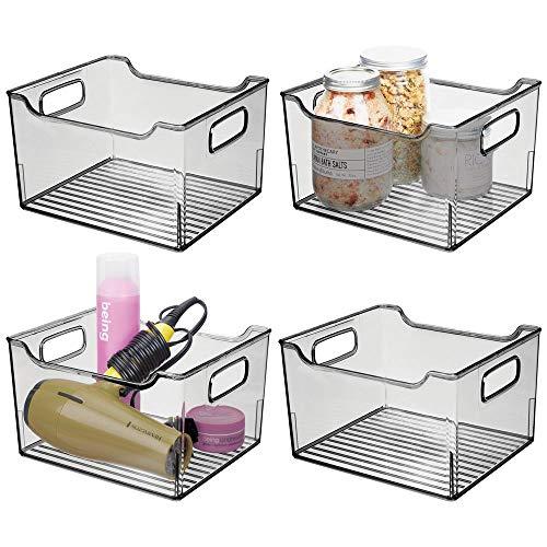 mDesign 4er-Set Ablagebox mit integrierten Griffen – transparente Aufbewahrungsbox mit ansprechendem Design – ideal zur Kosmetikaufbewahrung im Bad – rauchgrau