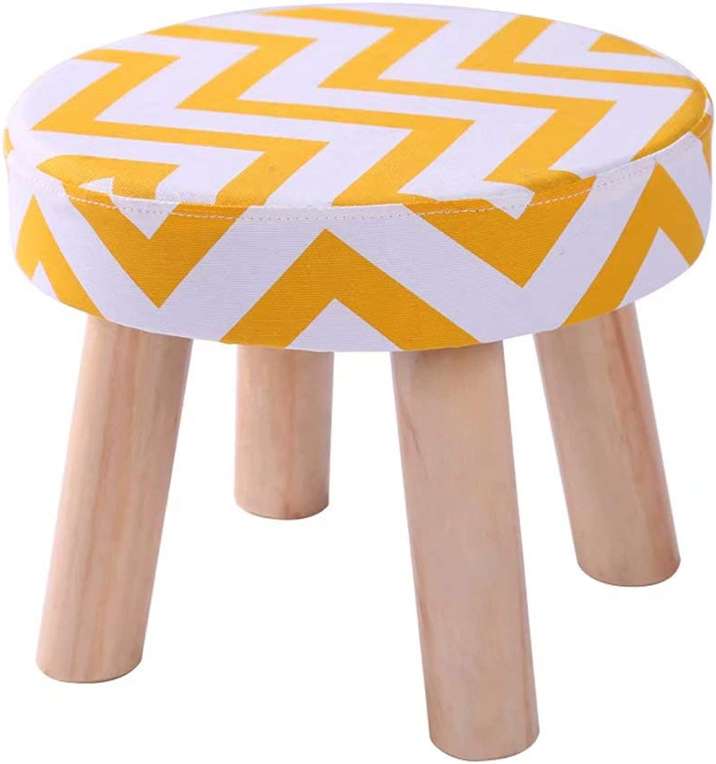 Small Stool Solid Wood Fabric Stool Sofa Stool Home Change shoes wear shoes Bench sedentary not deformable Washable 4 Legs
