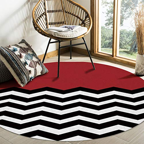 Libaoge Round Area Rugs 4 ft Diameter Red White Black Chevron Indoor Aloha Mats, Zig Zag Pattern Soft Living Room Bedroom Unique Carpet Woman Yoga Mat Home Decor