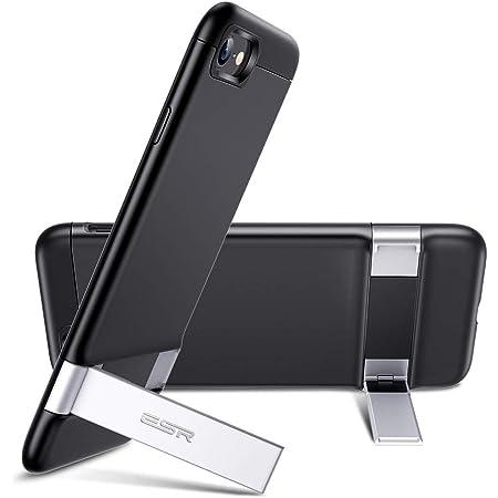 ESR iPhone SE ケース 第2世代 iPhone8 ケース 2020 新型 メタルキックスタンドケース [縦置き&横置き対応スタンド] [落下保護性能UP] 全面保護 Qi急速充電対応 PCバックケース – ブラック
