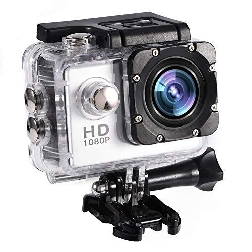 Mini Actie Camera, 7 Kleuren Full HD 2.0 Inch Actie Camera 1080P DV Sport Camera Cam Onderwater 30m/98ft Waterdichte Camera en Montage Accessoires Kit voor Duiken/Fiets/Zwemmen/Zwemmen et(Zilver)