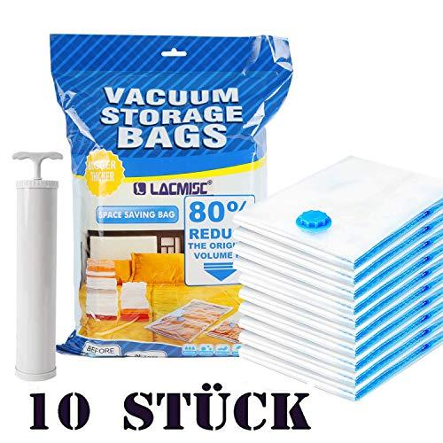 Lacmisc Vakuumbeutel Kleidung, Vakuum Aufbewahrungsbeutel Wiederverwendbar für Bettwäsche,Wiederverwendbar Kleiderbeutel für Kleidung (01 (with Pump))