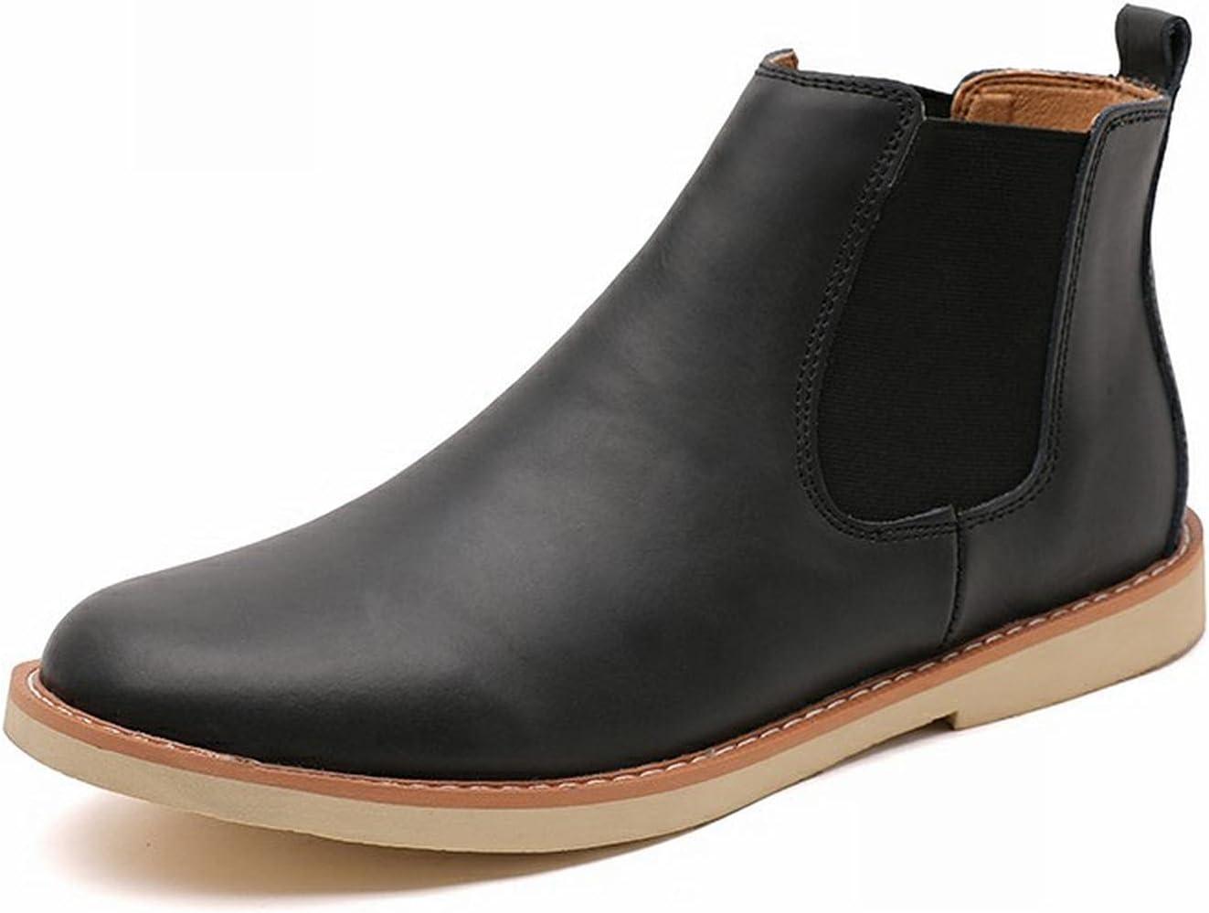 RHJK Chelsea Mens Boots Tan Leather Gusset Chelsea Mens Boots Textile Lining & TPR Soles Non-Slip Boots Work Slip On Shoes Black-39 EU