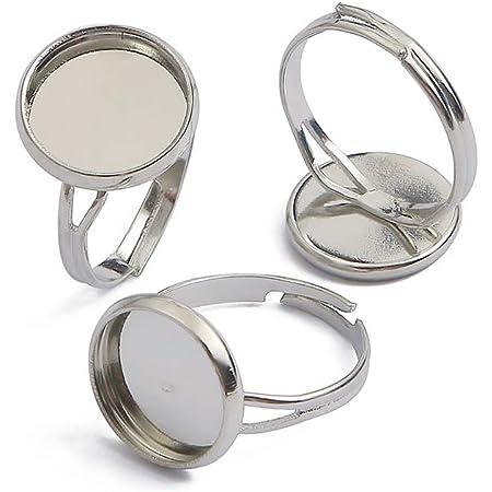 30x plaqué argent réglable Blank Ring base avec 12 mm Plat Pad À faire soi-même Findings