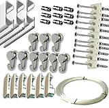 MARCS ARIAS SL Pack Basic RM de 9 Metros Guías de Aluminio Blanco para Colgar Cuadros con 9...