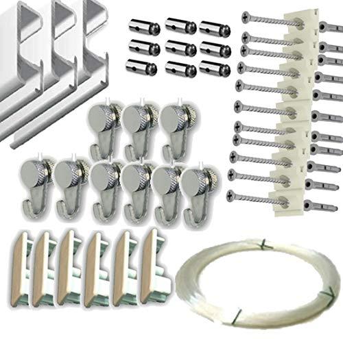 MARCS ARIAS SL Pack Basic RM de 9 Metros Guías de Aluminio Blanco para Colgar Cuadros con 9 colgadores Nylon