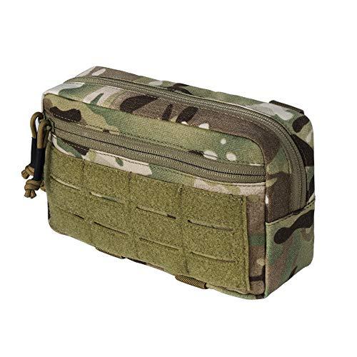 IDOGEAR Tactical MOLLE Pouch Multi-Purpose EDC Admin Pouch Military Modular Utility Tools Bag 500D Nylon (A:Multi-Camo)
