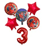 BCD-PRO Superhero Spiderman Balloons Bouquet 3rd Birthday 6 pcs - Party Supplies - Ribbons included