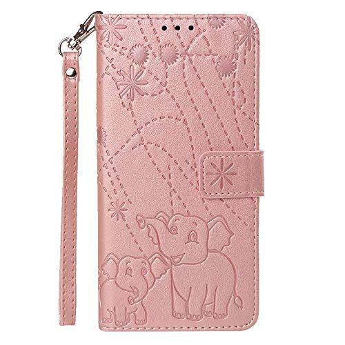 vingarshern Hülle für Huawei Honor Play 8A Schutzhülle Klappbares Flip Lederhülle Magnetverschlüsse Schutztasche Etui Honor Play 8A Hülle Leder Brieftasche,Elefant-Roségold MEHRWEG