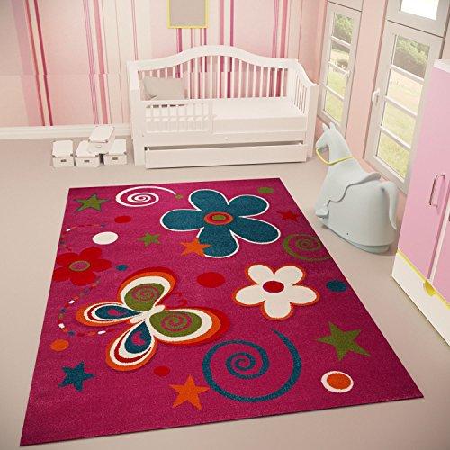 VIMODA Kinder Teppich Lila Freundlich Weich Motiv Schmetterling Blumen, Maße:120 x 170 cm
