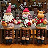 Super Cute Christmas Plush Toy Long Leg Sitting Santa Claus Snowman Reindeer Doll Christmas Tree Hanging Decor Home Indoor Table Fireplace Shelf Sitter Car Ornament Birthday Gifts (3PACK)