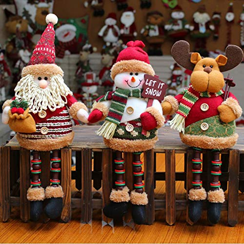 N/H Super Cute Christmas Plush Toy Long Leg Sitting Santa Claus Snowman Reindeer Doll Christmas Tree Hanging Decor Home Indoor Table Fireplace Shelf Sitter Car Ornament Birthday Gifts (3PACK)