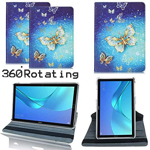 Lederhülle / Klappetui für Huawei MediaPad M5 Lite 10 mit 10,1 Zoll, um 360 Grad drehbar, Standfunktion, auf mehrere Winkel einstellbar Goldfarbenes Schmetterlings-Gehäuse 10.1