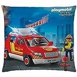 Playmobil Kissen City Action Feuerwehr 40x40 cm samtweiches Kuschelkissen mit Reißverschluss...