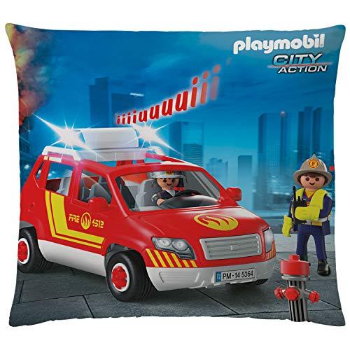 Playmobil Kissen City Action Feuerwehr 40x40 cm samtweiches Kuschelkissen mit Reißverschluss Rettungsfahrzeug Dekokissen Zierkissen Schmusekissen Kopfkissen Polster Autokissen Polizei zur Bettwäsche