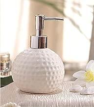 HOMIES INTERNATIONAL Carved Ceramic and Plastic Liquid Soap Dispenser (Standard Size, White)