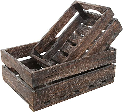 MyGift Set of 2 Country Rustic Finish Wood Storage Crate/Decorative Tray Carrier Boxes with Handles