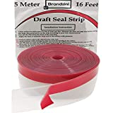 Brandzini Draft Strip Clear Weather Seal Silicone Stripping for Doors and Windows Gaps. Enhanced with Thicker Strip and Stronger Adhesive Tape Backing. (45MM/1.8' Width 5M/16.4ft Length, Transparent)