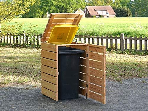 1er Mülltonnenbox 240 L Holz, Deckend Geölt Anthrazit Grau