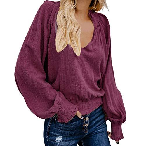Frauen T Shirt Damen Langarmshirt Lose V-Ausschnitt Tops Lässige Bluse Plissierter Baumwolle Hemden Oberteil Frühling Herbst Hemd Pullover Top Sweatshirt Casual Tunika Business Tops