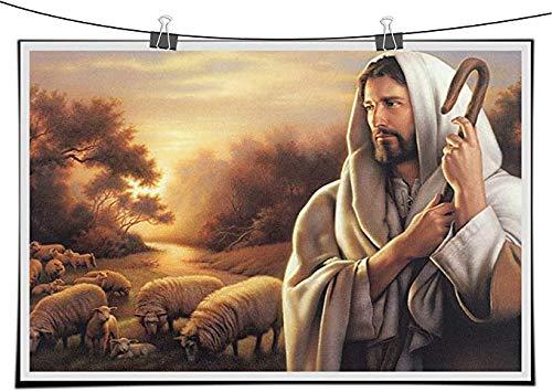 Jesus Christ The Good Shepherd Painting Canvas Wall Art Print Christian God Home Art Decor Communion Gift for living room (a,30x40inch-No frame)