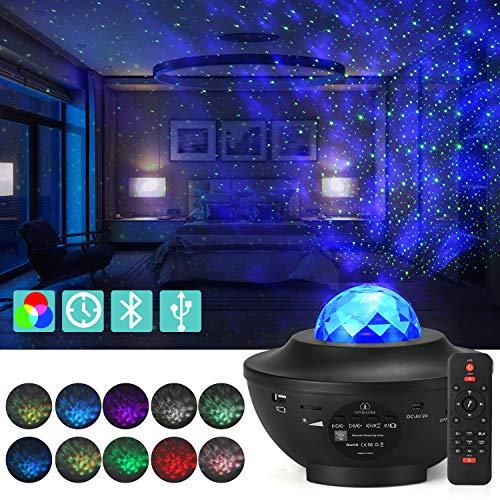 Proiettore LED stella lampada di proiezione con telecomando timer, 21 modalità di illuminazione, Bluetooth, lettore musicale, proiettore USB, luce cielo stellato per serata, festa, regalo per bambini