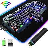 Kit Tastiera e Mouse da Gioco Wireless 2.4 GHz, 3800 mAh di grande capacità, Colore da Arcobaleno LED Retroilluminato USB+Mouse retroilluminato a 2400 DPI 7 colori+Grande pad mouse da gioco RGB- Nera