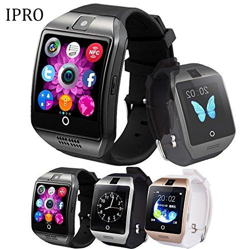 iPro Wireless Bluetooth Android Smartwatch, Q182m Kamera Schrittzähler Schlaf Monitor Fitness Tracker Armband w/TF/SIM NFC Card Slot Anrufe Facebook Antiverlust sitzen Reminder Armband für iOS