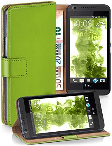 moex Klapphülle kompatibel mit HTC Desire 626G Hülle klappbar, Handyhülle mit Kartenfach, 360 Grad Flip Case, Vegan Leder Handytasche, Grün