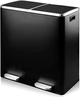 Lazyin 16 Gallon Trash Can, Double Recycle Pedal Bin, 2 x 30L Garbage Bin with Plastic Inner Buckets and Carry Handles, Fingerprint Proof Stainless Steel, Slow Close, Matte Black