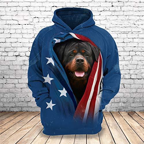 LHSWD 3D Rottweiler Kapuzenpullover Unisex Herren SweatshirtShepherd Mops Pudel Dobermann Französische Bulldogge Shih Tzu Pommerschen Pets Bedruckte Hoodies