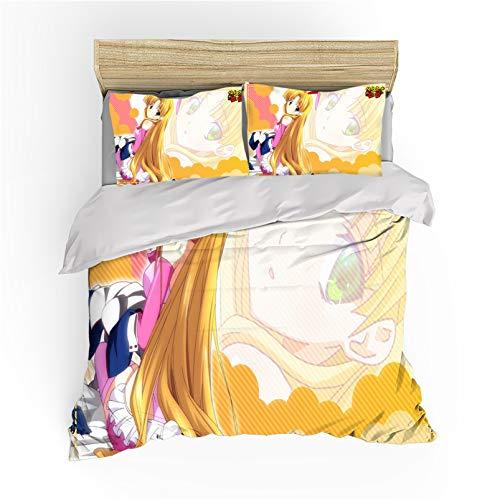 NBAOBAO High School DxD Juego de ropa de cama Rias Gremory, 100% fibra de poliéster, 1 funda nórdica y 2 fundas de almohada de 80 x 80 cm (5,220 x 240 cm + 50 x 75 cm x2)