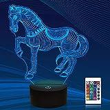 CooPark lámpara 3d caballo con control remoto de cambio de 16 colores al lado de la luz nocturna de la estantería