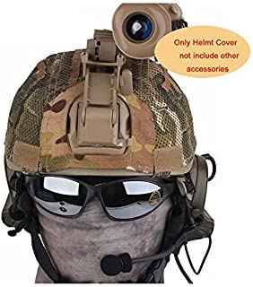 H World Shopping Tactical Military Airsoft Hunting Helmet Cover W/ Back Pouch for MICH 2001 Multicam MC Net