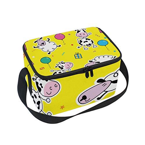 Alinlo Brottasche mit Reißverschluss, Motiv Kuh, isoliert, Kühltasche, Lunchbox, Essen Vorbereiten Handtasche für Picknick, Schule, Frauen, Herren, Kinder