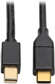 Tripp Lite USB C to Mini DisplayPort 4K Adapter Cable Thunderbolt 3 Compatible, M/M, USB Type C to mDP, USB-C, USB Type-C