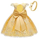 COMISARA Flower Girls Dresses First Communion Easter Special Occasion Christmas Dress Size 24M (Yellow, 24M)