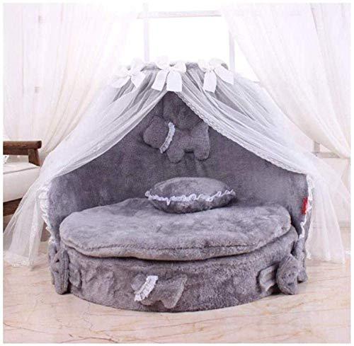 Leifeng Tower Cama de lujo con diseño de princesa, de encaje, para perros, gatos, cachorros, camas para mascotas, nido para mascotas, perrera, gato, perro, sofá (color: gris)