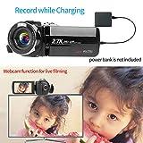 Videokamera Camcorder 2.7K 42MP Videokamera 18X Zoom Camcorder Full HD mit Drehbarem 3,0-Zoll-Bildschirm Videokamera für YouTube Fernbedienung, Webcam - 6